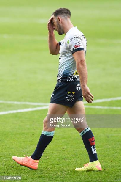 Luke Gale of Leeds Rhinos reacts during the Betfred Super League match between Huddersfield Giants and Leeds Rhinos at Emerald Headingley Stadium on...