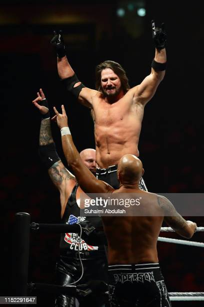 Luke Gallows, AJ Styles and Karl Anderson during the WWE Live Singapore at the Singapore Indoor Stadium on June 27, 2019 in Singapore.