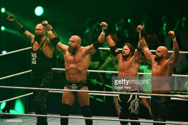 Luke Gallows,Triple H,AJ Styles and Karl Anderson celebrate the victory during the WWE Live Tokyo at Ryogoku Kokugikan on June 28, 2019 in Tokyo,...