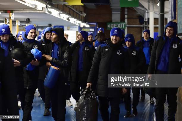 Luke Garbutt of Everton and team mates arrives to take part in the Goodison Sleepout at Goodison Park on November 10 2017 in Liverpool England