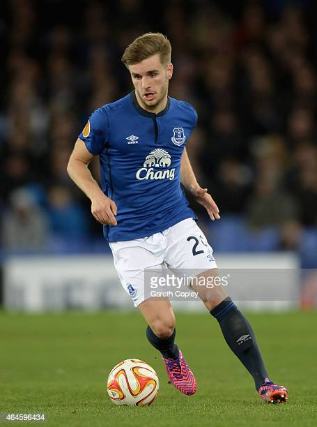 Luke Garbutt of Everton in action during the UEFA Europa League Round of 32 match between Everton and BSC Young Boys on February 26 2015 in Liverpool...