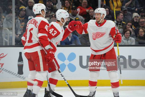 Luke Glendening Darren Helm and Alex Biega of the Detroit Red Wings celebrate their first period goal against the Boston Bruins at the TD Garden on...
