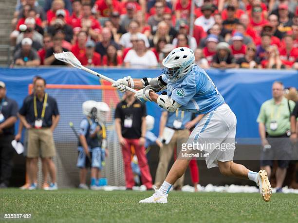 Luke Goldstock of the North Carolina Tar Heels scores a goal Maryland Terrapins in the NCAA Division I Men's Lacrosse Championship at Lincoln...