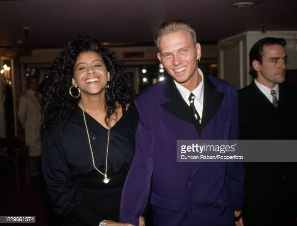 Luke Goss of the British band Bros with his wife Shirley Lewis attending the Ivor Novello Awards at the Grosvenor House Hotel in London, England on 2...