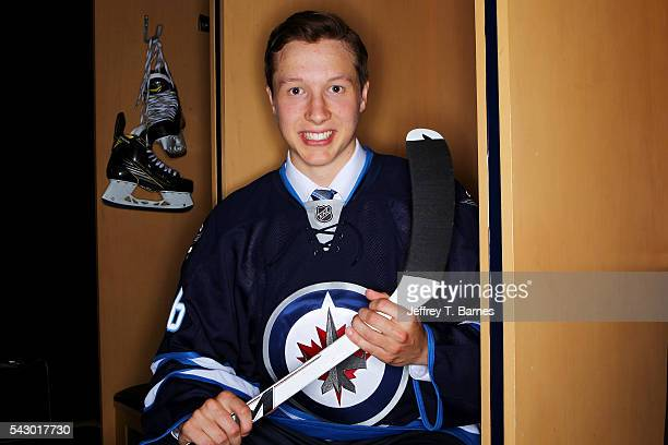 Luke Green poses for a portrait after being selected 79th overall by the Winnepeg Jets during the 2016 NHL Draft on June 25 2016 in Buffalo New York