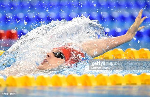 Luke Greenbank of Great Britain competes in the Men's 200m Backstroke final during day fourteen of the Baku 2015 European Games at Baku Aquatics...