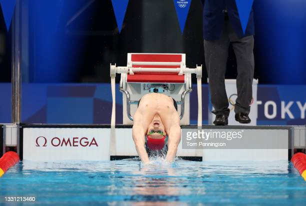 Luke Greenbank of Team Great Britain competes in the Men's 200m Backstroke Semifinal on day six of the Tokyo 2020 Olympic Games at Tokyo Aquatics...