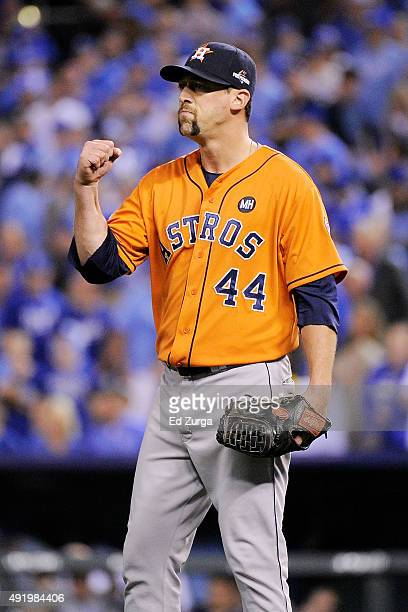 Luke Gregerson of the Houston Astros celebrates defeating the Kansas City Royals in game one of the American League Division Series at Kauffman...