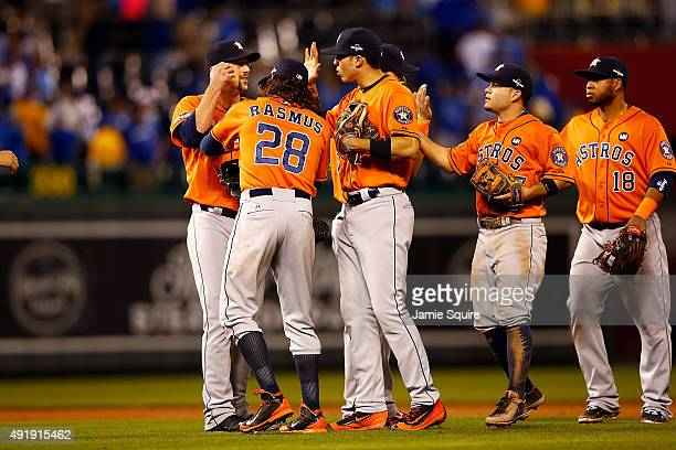 Luke Gregerson of the Houston Astros Colby Rasmus of the Houston Astros Carlos Correa of the Houston Astros Jose Altuve of the Houston Astros and...