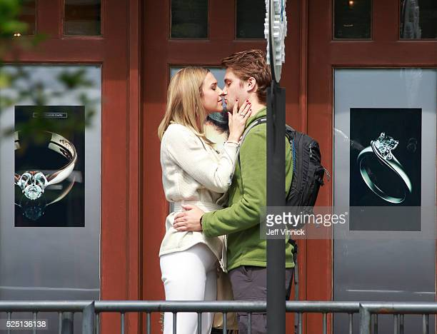 Luke Grimes and Arielle Kebbel kiss on the set of 50 Shades Freed on April 27 2016 in West Vancouver British Columbia Canada