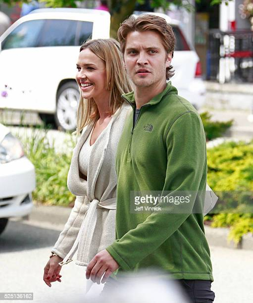 Luke Grimes and Arielle Kebbel walk on the set of 50 Shades Freed on April 27 2016 in West Vancouver British Columbia Canada