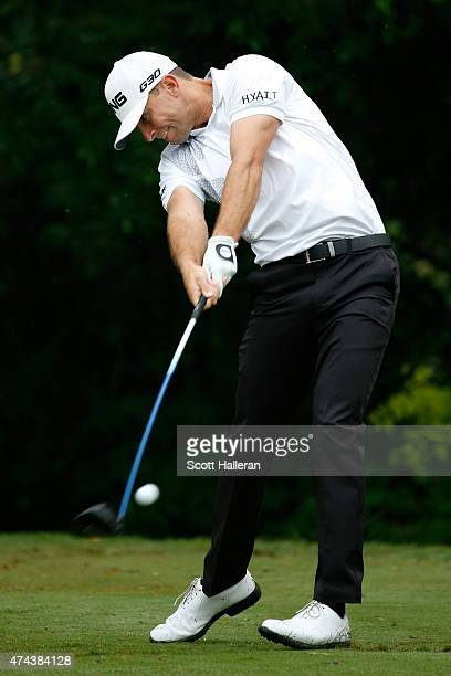 Luke Guthrie hits a shot on the 6th green during the second round of the Crowne Plaza Invitational at the Colonial Country Club on May 22 2015 in...