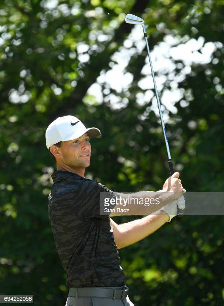 Luke Guthrie hits a tee shot on the fourth hole during the second round of the Webcom Tour RustOleum Championship at Ivanhoe Club on June 9 2017 in...