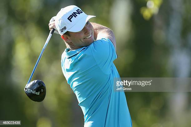 Luke Guthrie hits a tee shot on the second hole at the Arnold Palmer Private Course at PGA West during the Humana Challenge in partnership with the...