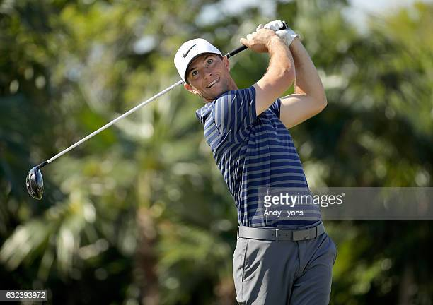 Luke Guthrie hits his tee shot on the 14th hole during the first round of The Bahamas Great Abaco Classic at Abaco Club on January 22 2017 in Great...