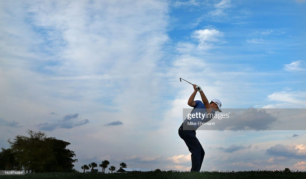 Luke Guthrie hits his tee shot on the 15th hole during the third round of the Honda Classic at PGA National Resort and Spa on March 2, 2013 in Palm Beach Gardens, Florida.