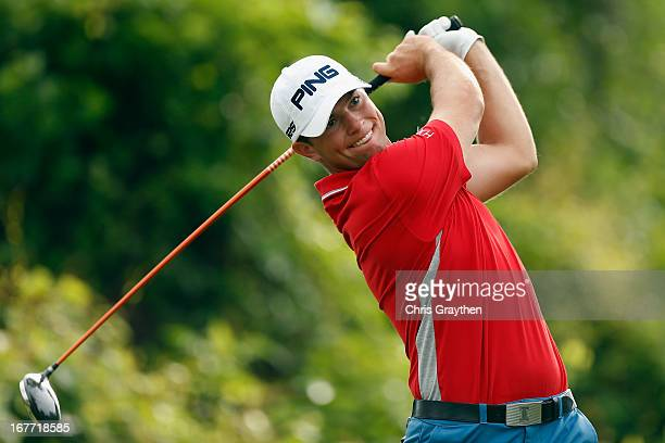 Luke Guthrie hits his tee shot on the second hole during the final round of the Zurich Classic of New Orleans at TPC Louisiana on April 28, 2013 in...