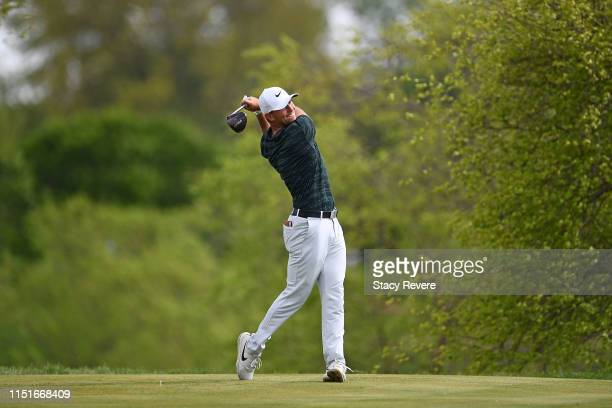 Luke Guthrie hits his tee shot on the second hole during the third round of the Evans Scholar Invitational at the Glen Club on May 25, 2019 in...