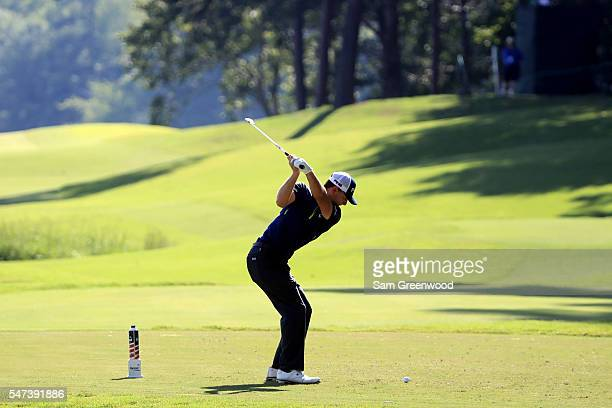 Luke Guthrie hits off the eighth tee during the first round of the Barbasol Championship at the Robert Trent Jones Golf Trail at Grand National on...