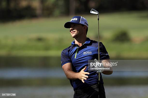 Luke Guthrie hits off the sixth hole during the first round of the Barbasol Championship at the Robert Trent Jones Golf Trail at Grand National on...