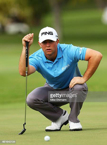 Luke Guthrie lines up a putt on the second green during the second round of the Sony Open In Hawaii at Waialae Country Club on January 16 2015 in...