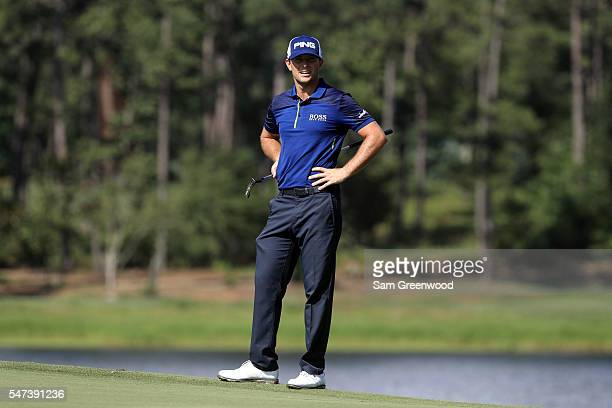Luke Guthrie looks at his shot on the sixth hole during the first round of the Barbasol Championship at the Robert Trent Jones Golf Trail at Grand...