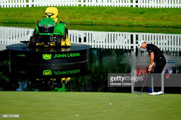 Luke Guthrie misses his par putt on the18th hole during the first round of the John Deere Classic held at TPC Deere Run on July 9 2015 in Silvis...