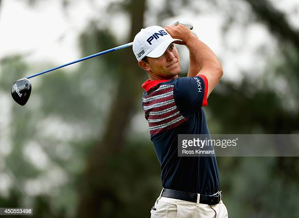 Luke Guthrie of the United States hits his tee shot on the 11th hole during the second round of the 114th U.S. Open at Pinehurst Resort & Country...