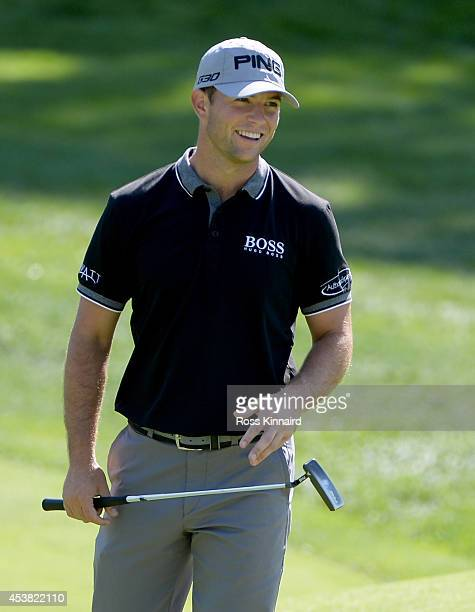Luke Guthrie of the USA in action during a practice round prior to The Barclays at The Ridgewood Country Club on August 19 2014 in Paramus New Jersey
