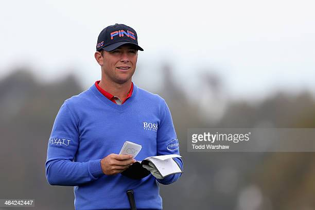 Luke Guthrie practices on the second hole of the South Course before the Farmers Insurance Open at Torrey Pines Golf Course on January 21 2014 in La...
