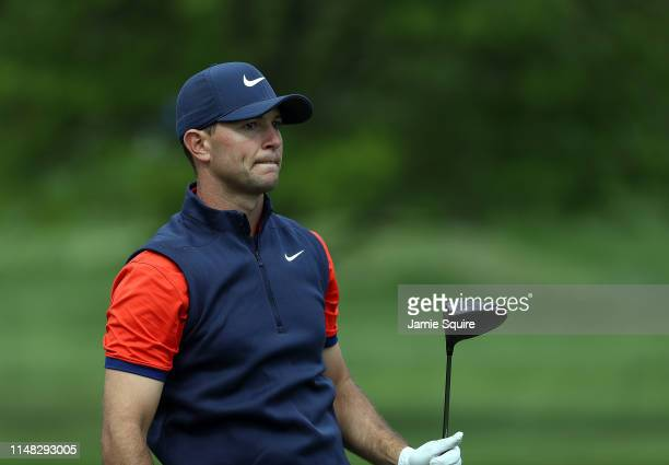 Luke Guthrie prepares to hit his first shot on the 17th hole during the second round of the Web.com Tour KC Classic on May 10, 2019 in Kansas City,...