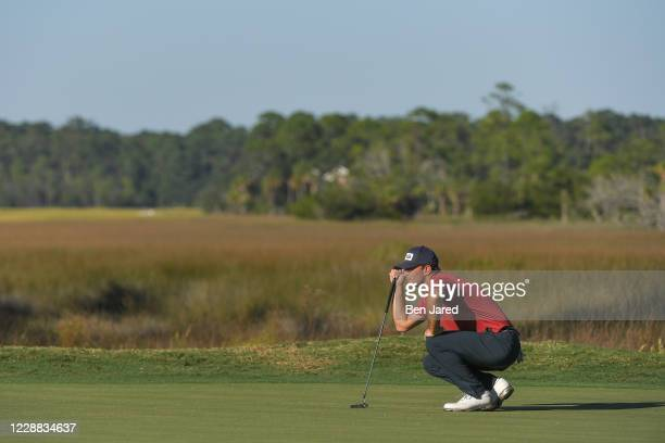 Luke Guthrie reads the 18th green during the first round of the Korn Ferry Tour Savannah Golf Championship at the Landings Club-Deer Creek Course on...