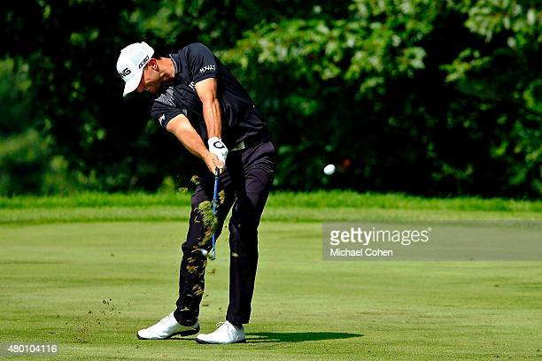 Luke Guthrie takes his second shot on the15th hole during the first round of the John Deere Classic held at TPC Deere Run on July 9 2015 in Silvis...
