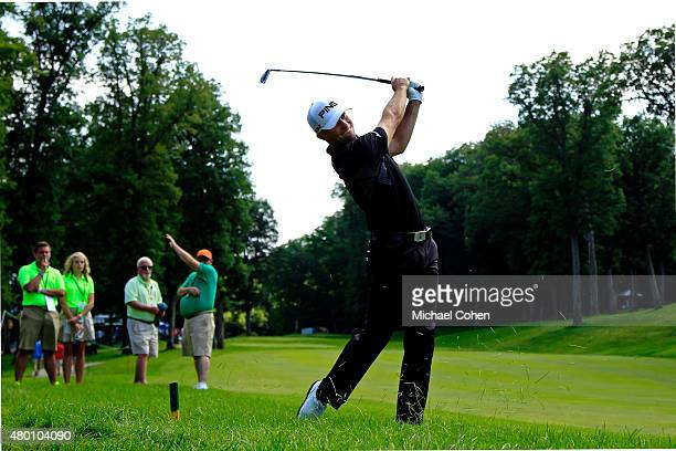 Luke Guthrie takes his second shot on the17th hole during the first round of the John Deere Classic held at TPC Deere Run on July 9 2015 in Silvis...
