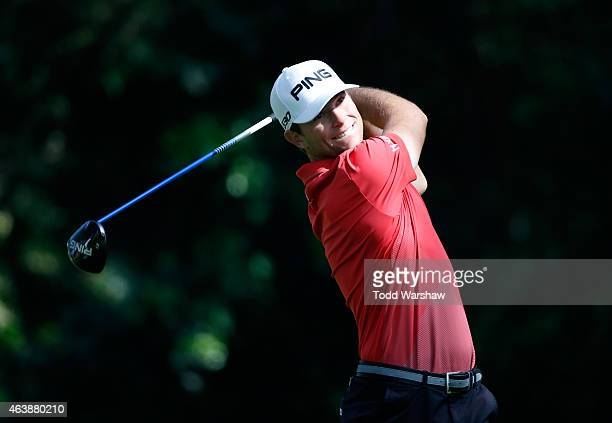Luke Guthrie tees off on the 12th hole during round one of the Northern Trust Open at Riviera Country Club on February 19, 2015 in Pacific Palisades,...