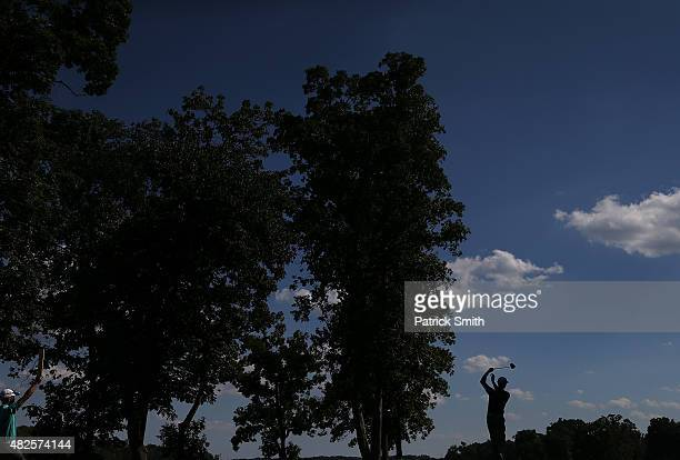 Luke Guthrie tees off on the 12th hole during the second round of the Quicken Loans National at the Robert Trent Jones Golf Club on July 31 2015 in...