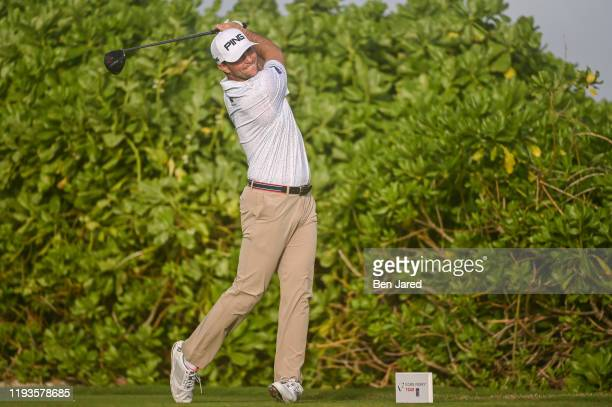 Luke Guthrie tees off on the 12th tee during the second round of the Korn Ferry Tour's The Bahamas Great Exuma Classic at Sandals Emerald Bay golf...