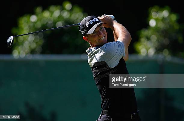 Luke Guthrie tees off on the 2nd during Round One of the Crowne Plaza Invitational at Colonial on May 22 2014 at Colonial Country Club in Fort Worth...