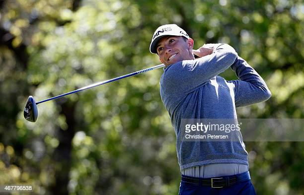 Luke Guthrie tees off on the ninth hole during round two of the Valero Texas Open at TPC San Antonio AT&T Oaks Course on March 27, 2015 in San...