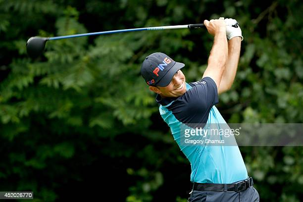 Luke Guthrie tees off on the second hole during the second round of the John Deere Classic held at TPC Deere Run on July 11, 2014 in Silvis, Illinois.