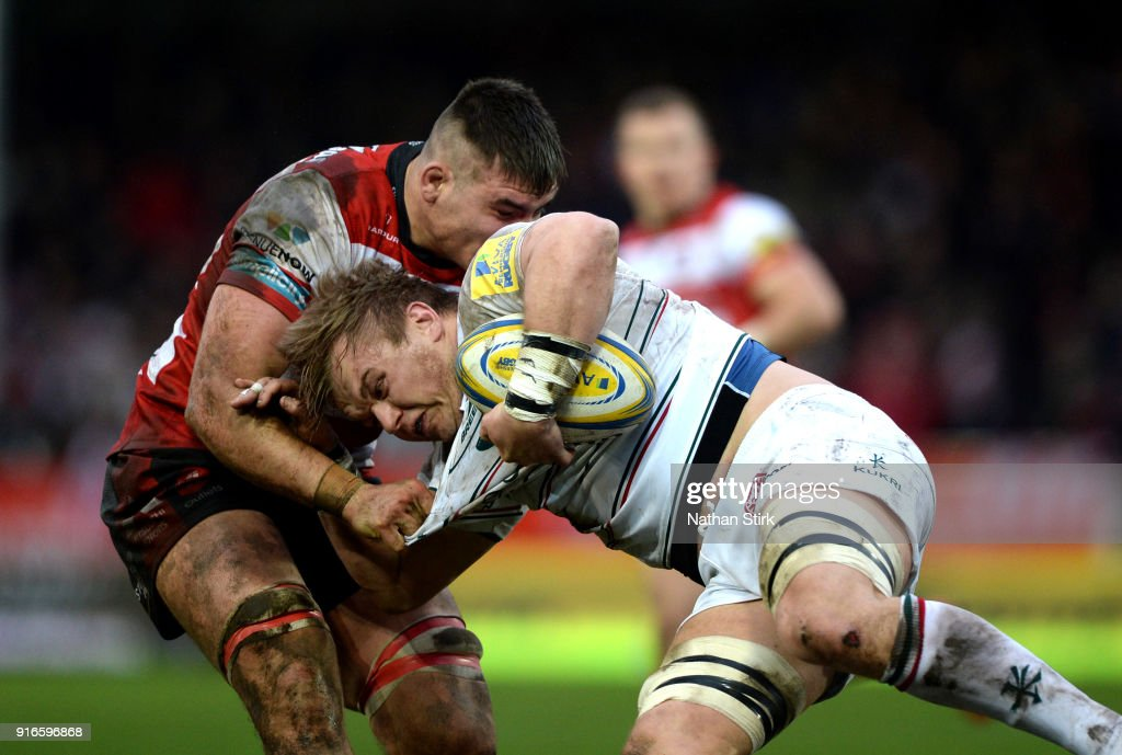 Luke Hamilton of Leicester Tigers in action during the Aviva Premiership match between Gloucester Rugby and Leicester Tigers at Kingsholm Stadium on February 10, 2018 in Gloucester, England.