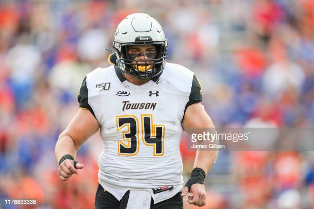 Luke Hamilton of the Towson Tigers looks on during a game against the Florida Gators at Ben Hill Griffin Stadium on September 28 2019 in Gainesville...