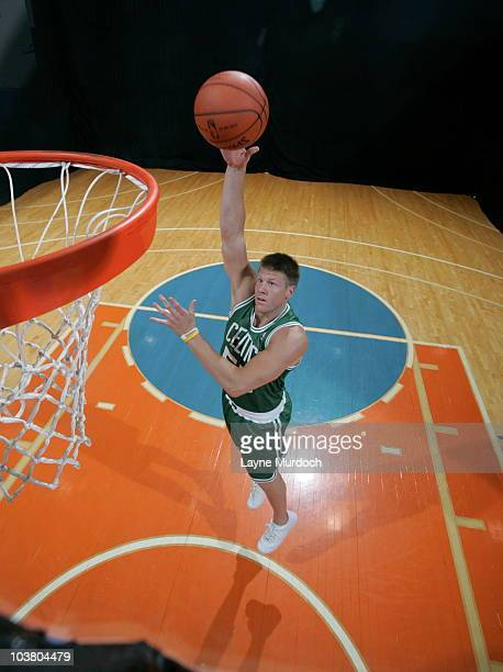 Luke Harangody of the Boston Celtics does mock action shots during the 2010 NBA rookie photo shoot on August 17 2010 at the MSG Training Facility in...