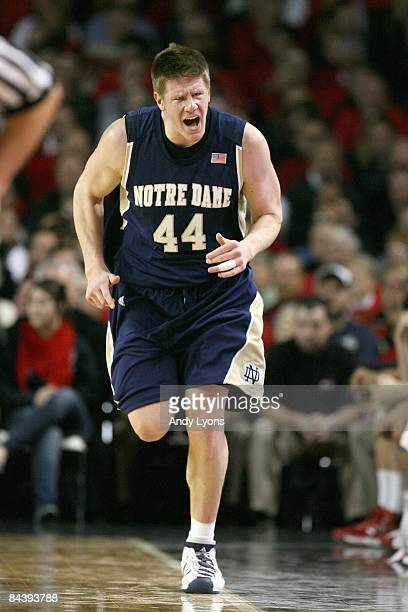 Luke Harangody of the Notre Dame Fighting Irish runs down court during the Big East Conference game against the Louisville Cardinals on January 12,...