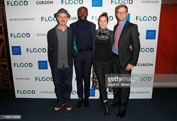 """Luke Healy, Ivanno Jeremiah, Lena Headey and Anthony Woodley attend a special screening of """"The Flood"""" at The Curzon Mayfair on June 14, 2019 in..."""