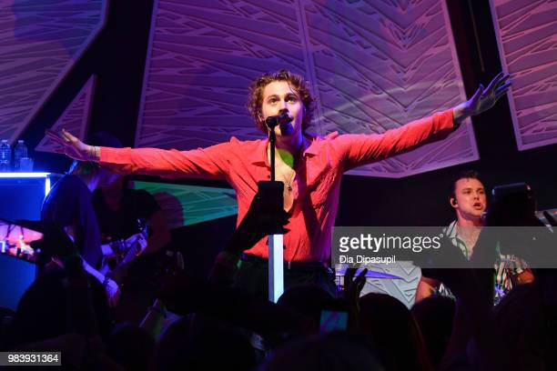 Luke Hemmings and Ashton Irwin of 5 Seconds of Summer perform at the Tumblr IRL with 5 Seconds of Summer at the National Sawdust June 25 2018 in New...
