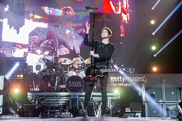 Luke Hemmings Ashton Irwin of 5 Seconds of Summer perform onstage at The O2 Arena on April 8 2016 in London England