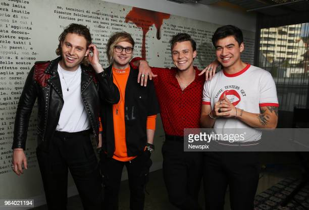 SYDNEY NSW Luke Hemmings Michael Clifford Ashton Irwin and Calum Hood of Five Seconds Of Summer pose during a photo shoot in Sydney New South Wales
