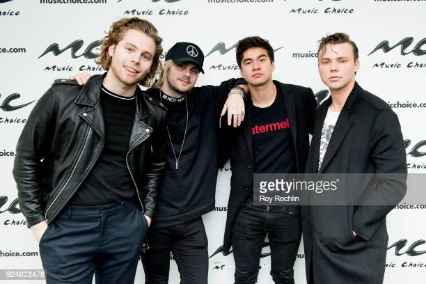Luke Hemmings Michael Clifford Calum Hood Michael Clifford and Ashton Irwin of 5 Seconds of Summer visit Music Choice on February 26 2018 in New York...