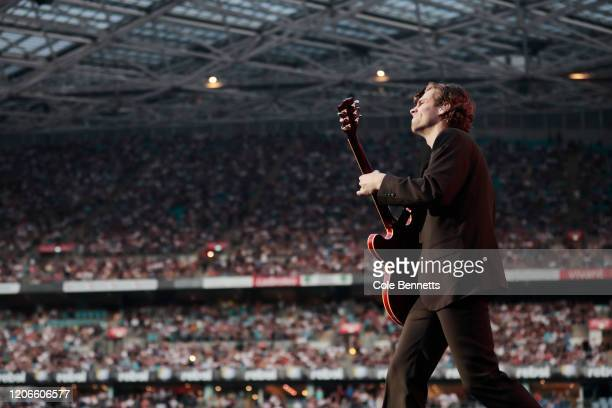 Luke Hemmings of 5 Seconds of Summer performs during Fire Fight Australia at ANZ Stadium on February 16, 2020 in Sydney, Australia.